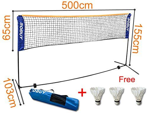 SoBuy Height Adjustable Tennis Nets, Badminton Net,with stand / frame,includes Fastening Devices, SFN03,Lengthen:500 cm(196.8inch)  //Price: $ & FREE Shipping //     #sports #sport #active #fit #football #soccer #basketball #ball #gametime   #fun #game #games #crowd #fans #play #playing #player #field #green #grass #score   #goal #action #kick #throw #pass #win #winning