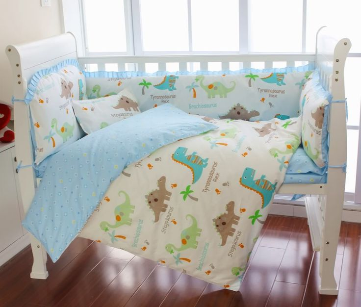 dinosaur baby bedding | Aussiebuby Baby Bedding Crib Cot Sets - 9 Piece Cute Dinosaurs Theme ...