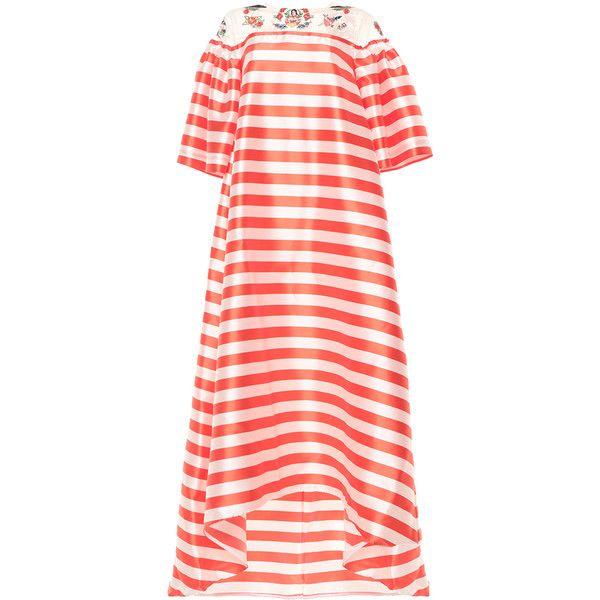 Vivetta Coral Aida Maxi Dress (15,035 MXN) ❤ liked on Polyvore featuring dresses, maxi dress, red dress, a line maxi dress, coral maxi dress and sleeve maxi dress