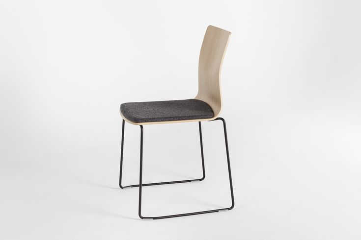 LINAR PLUS #chairs, designed by #PiotrKuchciński with a smooth line connected seat, made of #plywood with #upholstered cushion. 2016 #novelty