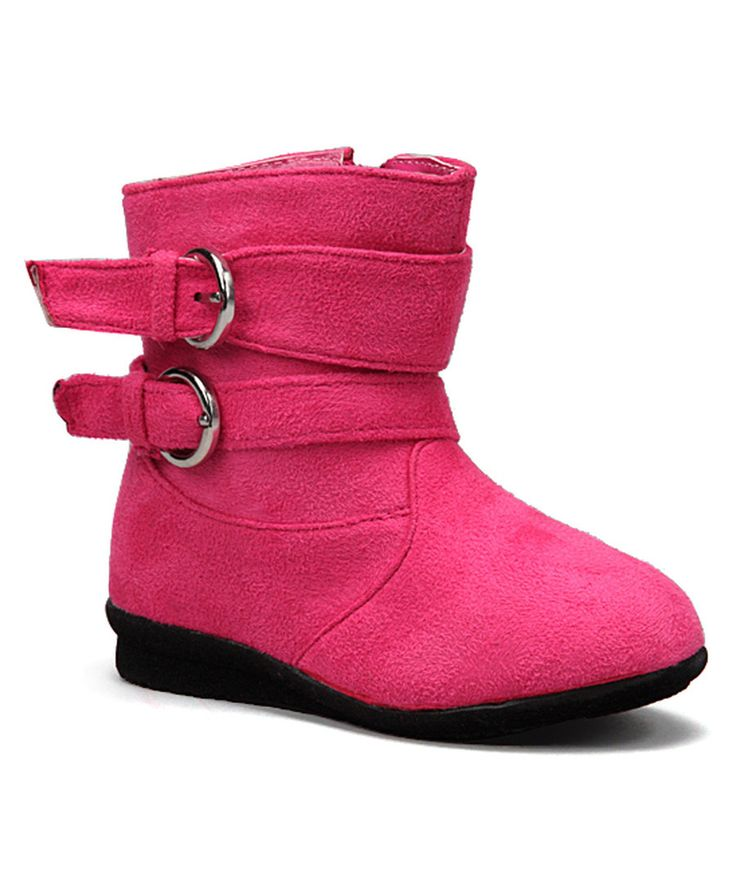 Look at this Luna Shoes Pink Buckle Boot on #zulily today!