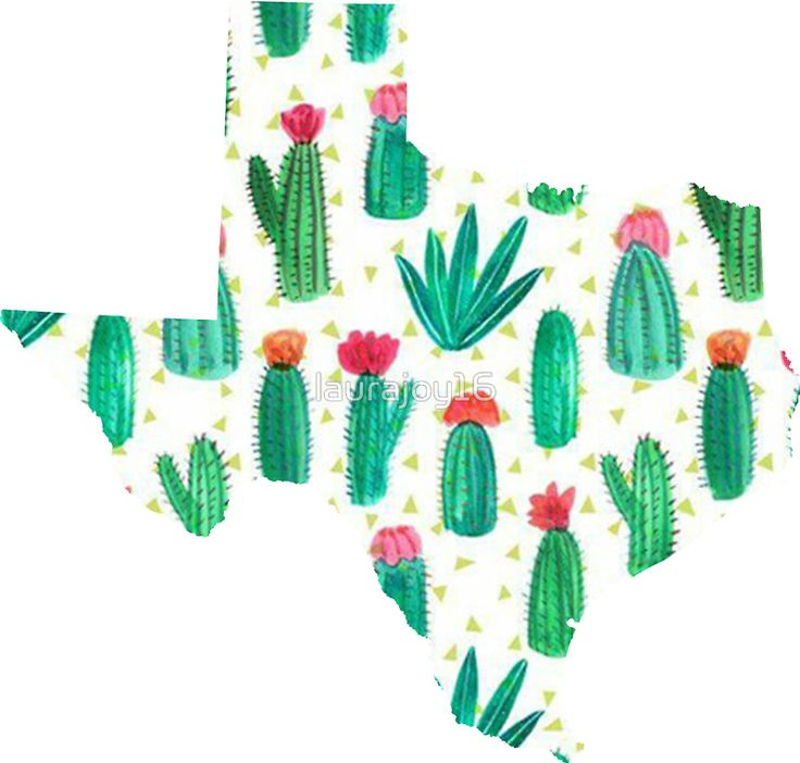 Texas Outline Watercolor Cacti by laurajoy16