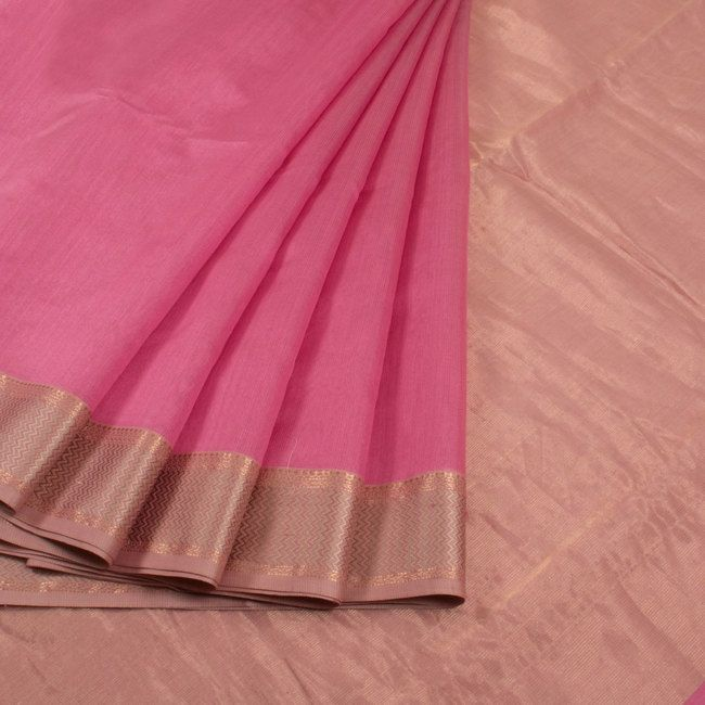 Buy online Handwoven Pink Maheshwari Silk Cotton Saree With Zari Border 10013204