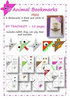 6 Bookmarks in black and white or colourFREEBY TEACHEZY  12 pagesIncludes rabbit, frog, cat, pig, bear and monster.Please follow us on https://www.teacherspayteachers.com/Store/Teachezy