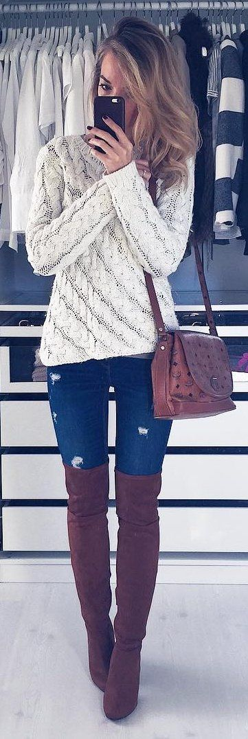 #winter #fashion /  White Knit / Ripped Skinny Jeans / Brown OTK Boots