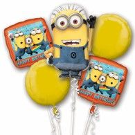 Despicable Me Birthday Bouquet 5 x Foil Balloons Pkt5 $49.95 U29958