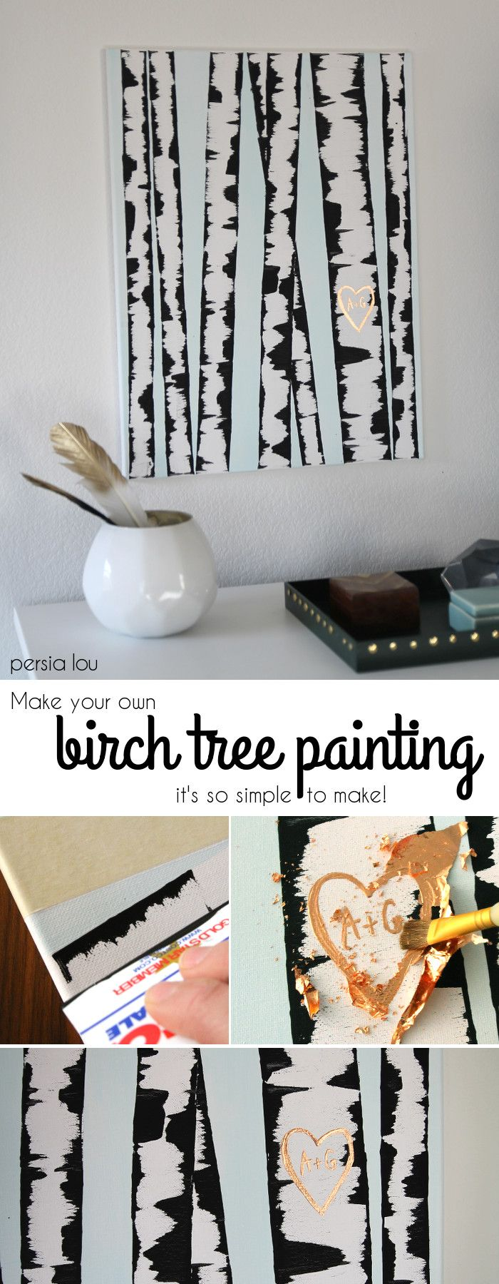 cheap and easy homemade wall art design diy birch tree painting by diy ready at - Wall Art Design Ideas