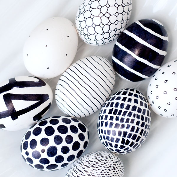 Easter eggs black and white