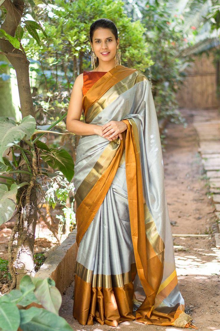 Grey soft cotton silk saree with mustard and dull gold border #saree #houseofblouse #cottonsilk #grey #mustard #gold #border