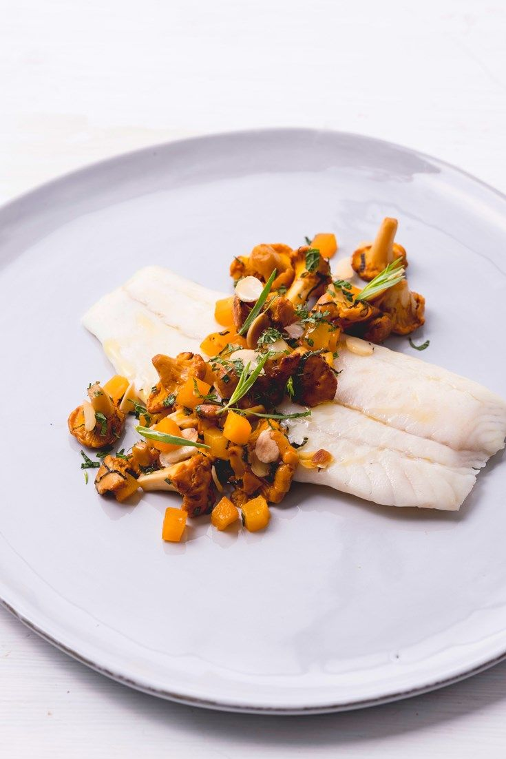 Luke Holder's sous vide turbot recipe is served with beautiful girolles, spiked with a fragrant apricot dressing for sweetness.