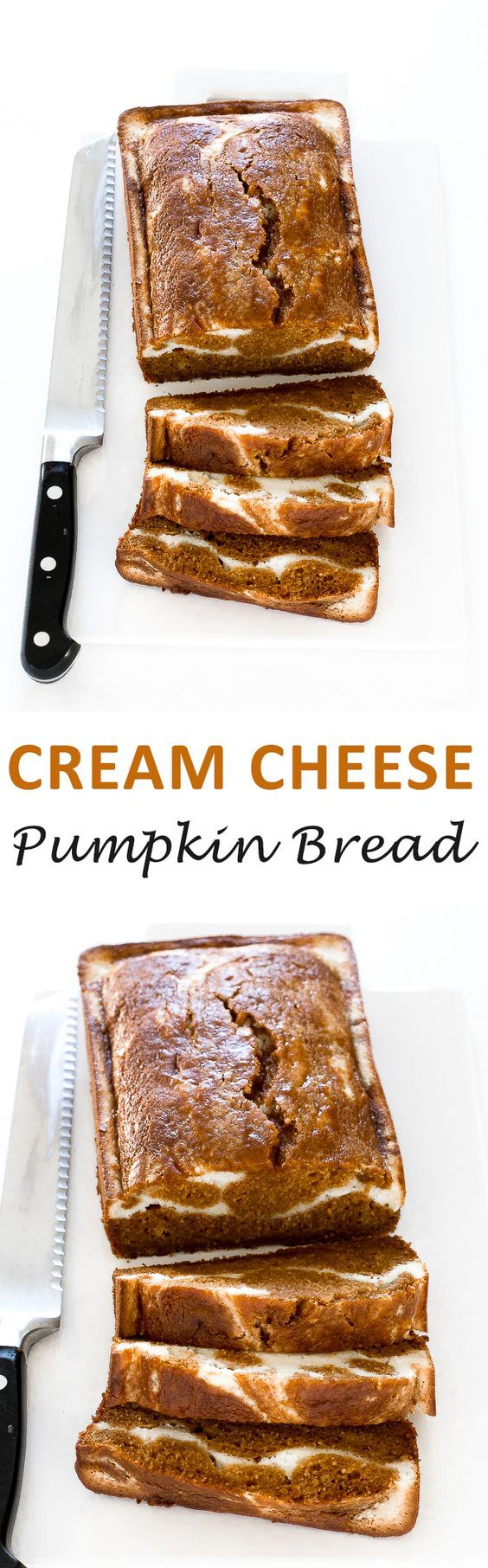 Pumpkin Cream Cheese Bread. Super soft, moist and perfectly spiced! The perfect breakfast or dessert for Fall! | chefsavvy.com #recipe #pumpkin #bread #cream #cheese #fall #dessert #breakfast