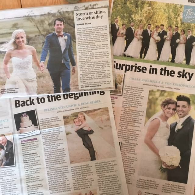 Thankyou to The Advertiser for sharing so many beautiful photos and stories of our brides lately. We love seeing our Caleche brides in print, all blissfully happy, enjoying their day!
