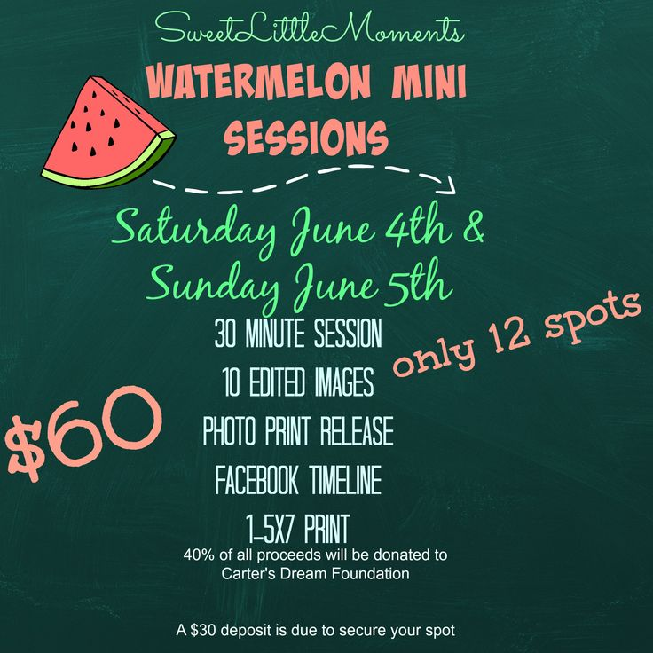 "Sweet Little Moments is hosting ""Watermelon Mini Sessions"" to kick off summer 2016."