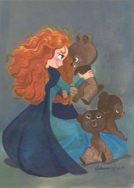 Merida and brothers - Disney Fine Art