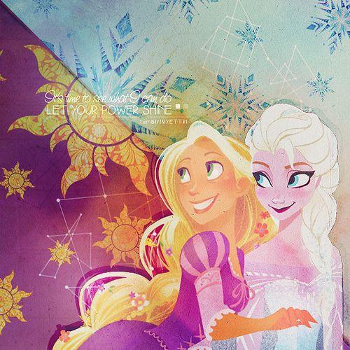 Rapunzel & Elsa edit by: vyettri  Rapunzel & Elsa Character Art by: Brittney Lee