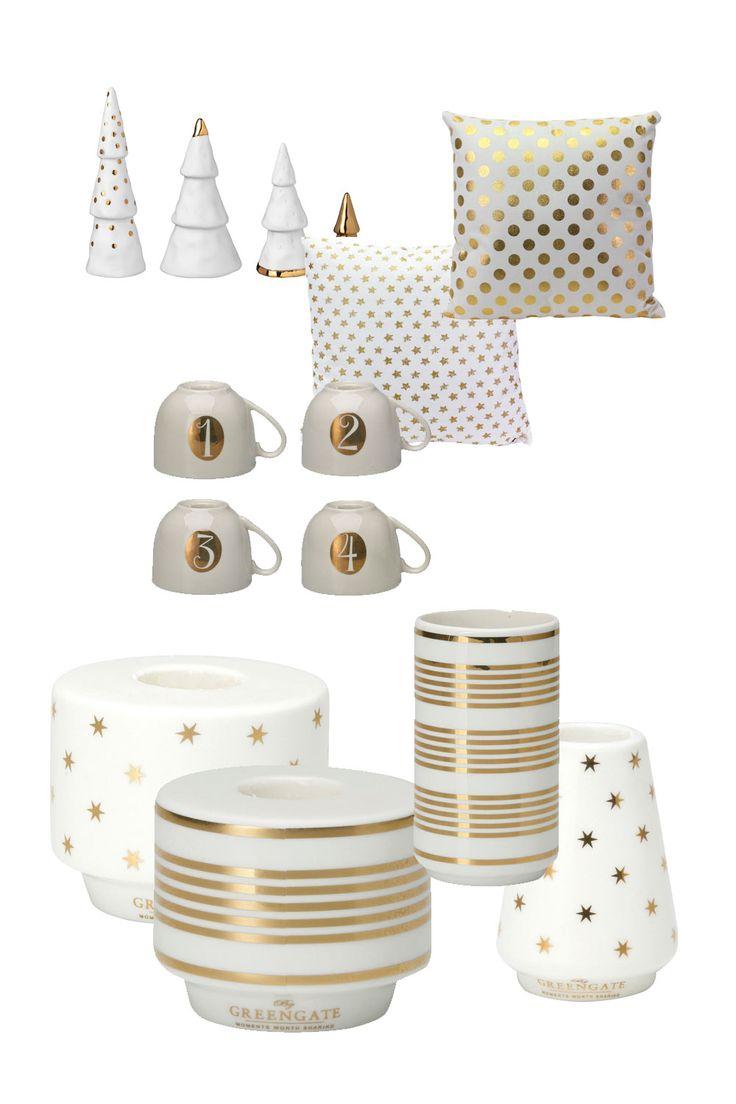 Weihnachtsdeko in Gold, Abbildungen: Kerzenhalter und Tassen: © GreenGate | Kissen und Tannenbaumdeko: © Sylter Wohnlust