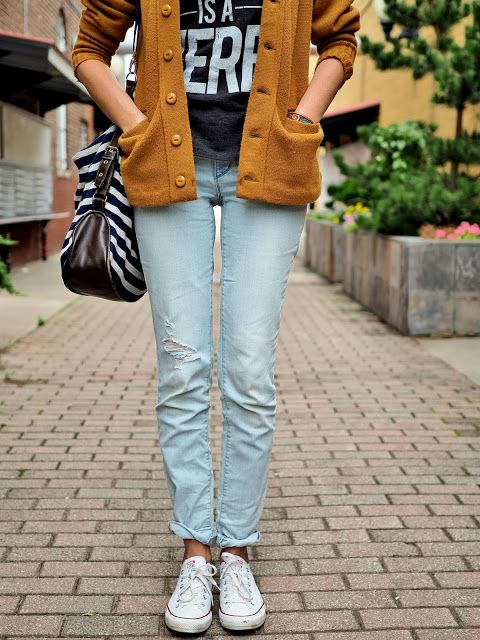 Jeans, graphic T, long thrift-store cardigan, Converse, striped bag #noondaystyle