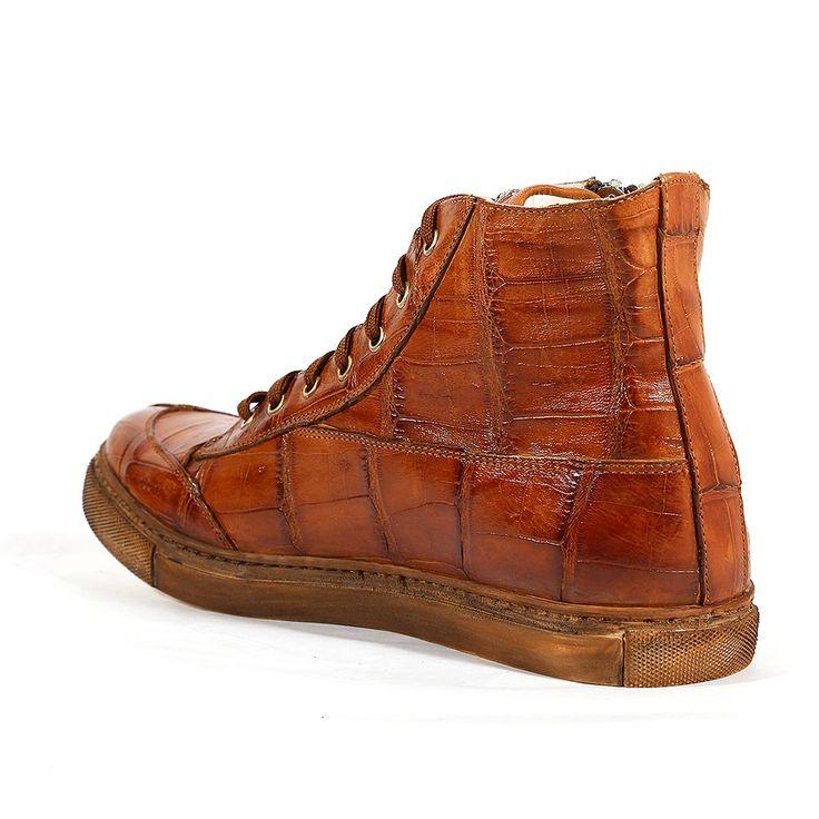 Mauri Italian Mens Shoes Siena Baby Croco Hand-Painted Brandy Boots (MA1116)