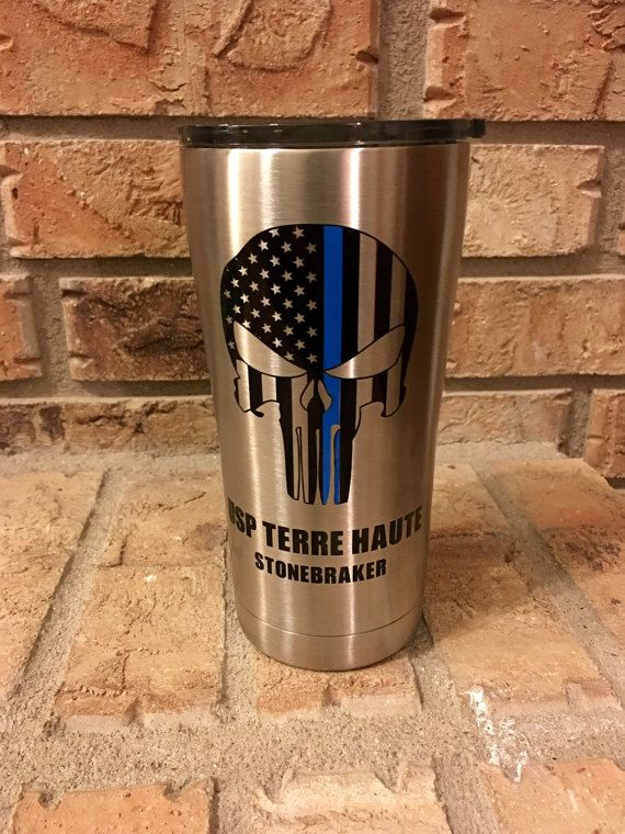 This vacuum sealed stainless tumbler is great for hot or cold beverages. The punisher skull features the thin blue line, which is great for law enforcement or correction officers. These can be personalized with your department, title, and/or name as seen here. Write info in the note section at checkout. I can also make these in bulk. These are made out of 651 Oracle vinyl, which means they can be outside with temperature changes and exposed to water for 6-7 years without peeling. However...