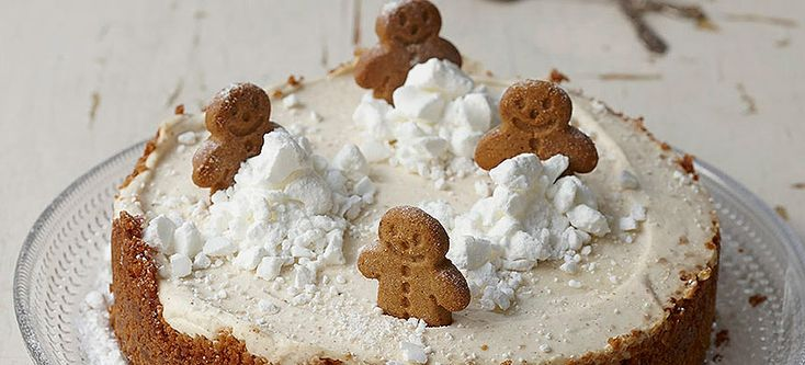 christmas cheesecake with meringue  snow piles and gingerbread men...