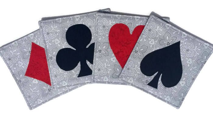Bridge Card Quilted Fabric Coasters, Diamond Heart Spade and Club, Set of 4 quilted card Coasters, Gift for Bridge Partner, Quiltsy Handmade by LawsonCreations on Etsy