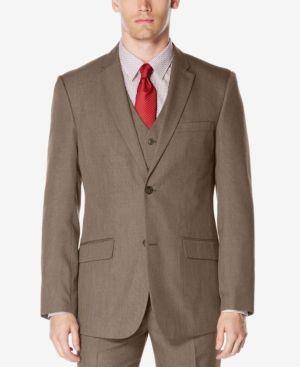 Perry Ellis Men's Big & Tall Subtle Plaid Jacket Suit Separate  - Tan/Beige 48R