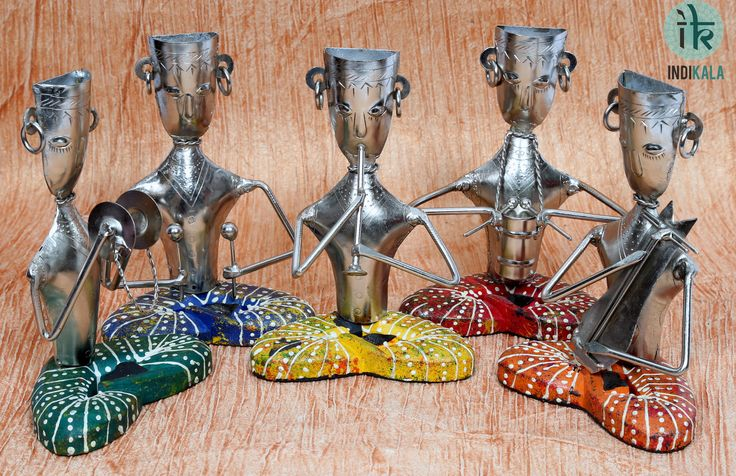 Five Rajasthani Musicians. Hand embossed and painted in vibrant colours. Add to the ethnic feel of your décor.