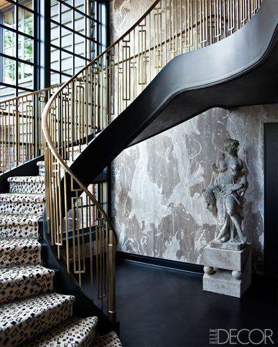 Brass is trending for Fall 2013 #Interiors ~ Staircase raising designed by Kelley Wearstler