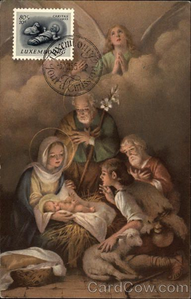 Post Card Art ! Madonna and Child surrounded by Joseph, Shepherd and Angel