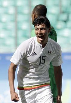 Mexico's Erick Gutierrez celebrates his goal during a group C match of the men's Olympic football tournament between Mexico and Fiji at the Fonte Nova Arena in Salvador, Brazil, Sunday, Aug. 7, 2016. (AP Photo/Arisson Marinho)