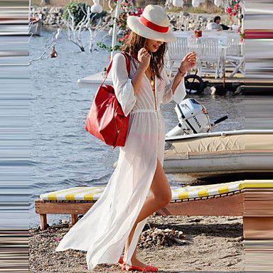 Hot Sale Long Sleeve Solid Summer Dress 2015 New Fashion T-shirt Bikini Cover up High Quality on Sale Beach Cover Ups 2015 – $19.99