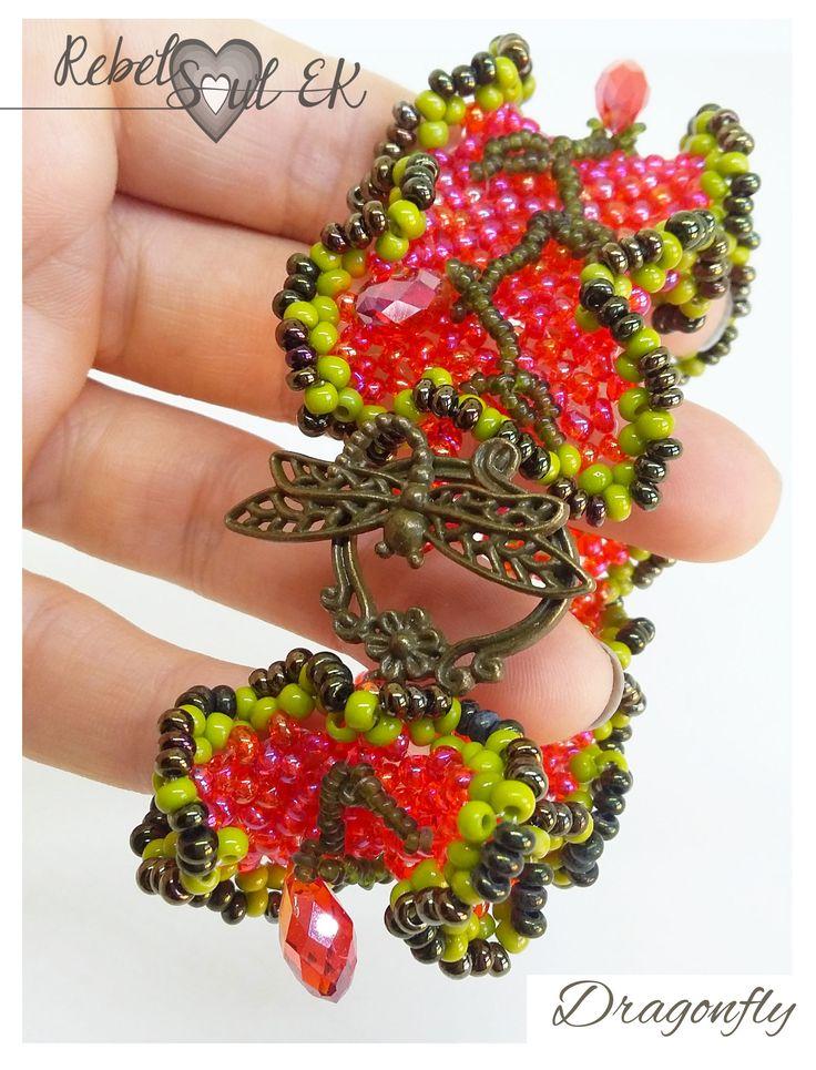 dragonfly bracelet, Neon bracelet, Fuchsia cuff, Raspberry color, hot pink bracelet, beadwork bracelet, nature jewelry, pink bridesmaid  Ask a question €18.00