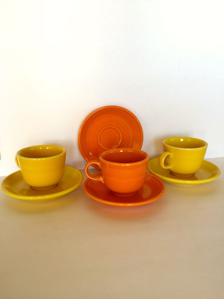 Mix Match Fiesta Cups and Saucers Homer Laughlin Yellow Orange Tea Cups Fiesta Dishes Collectible Fiesta Ware Homer Laughlin Vintage Pottery by TizaVintage on Etsy https://www.etsy.com/listing/253613782/mix-match-fiesta-cups-and-saucers-homer