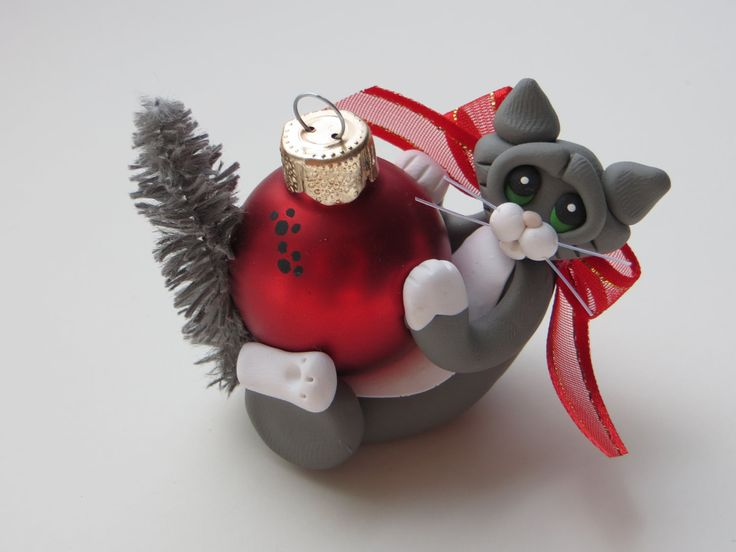 Polymer+Clay+Cat+Christmas+Ornament+Gray+Tuxedo+by+HeartOfClayGirl,+$12.95