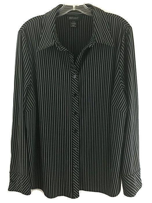 Lane Bryant 18 20 Top Black White Pin Stripe Career Stretch Shirt Button Blouse #LaneBryant #ButtonDownShirt #Career