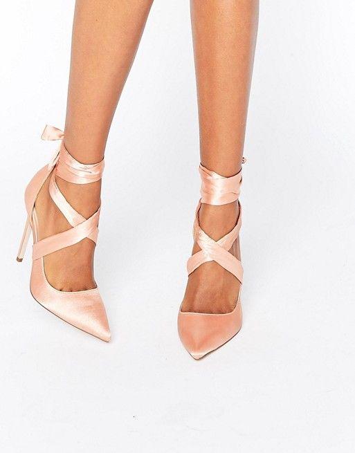 ASOS | ASOS PINO Satin Lace Up Pointed Heels