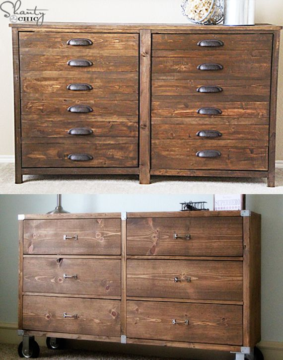 Handmade dressers from Whitney and Ashley of Shanty 2 Chic, hosts of Do-It-Herself Workshops at The Home Depot using bronze pulls and featuring a rugged wood grain