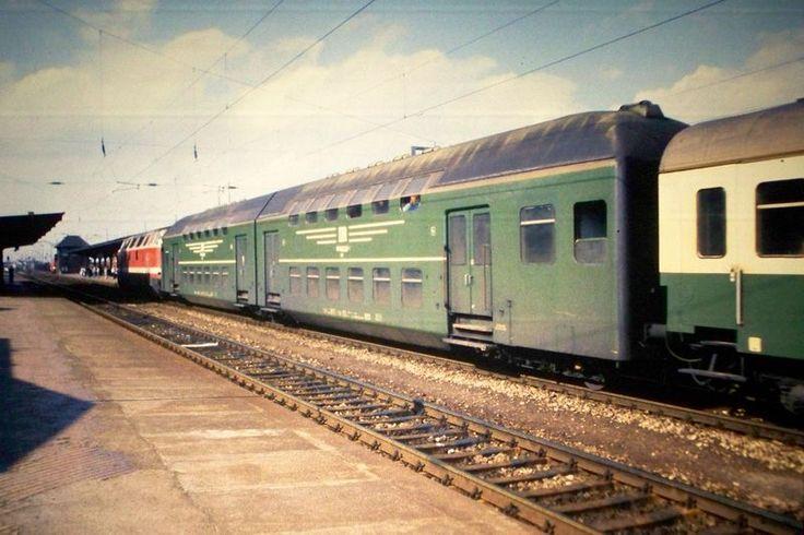 Old DDR rail wagons in Arnstadt in 1990. The DDR 'Reichsbahn' was merged in 1993 with the German Bundesbahn into Deutsche Bahn AG