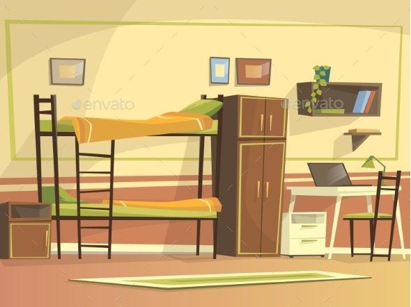 Vector Cartoon Student Dormitory Room Interior Com Imagens