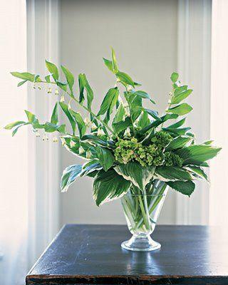 Striking foliage arrangement.Green Arrangements, White Flowers, Bridal Bouquets, Flower Arrangements, Solomon Seals, Floral Arrangements, Green Flower, Hosta Leaves, Ferns