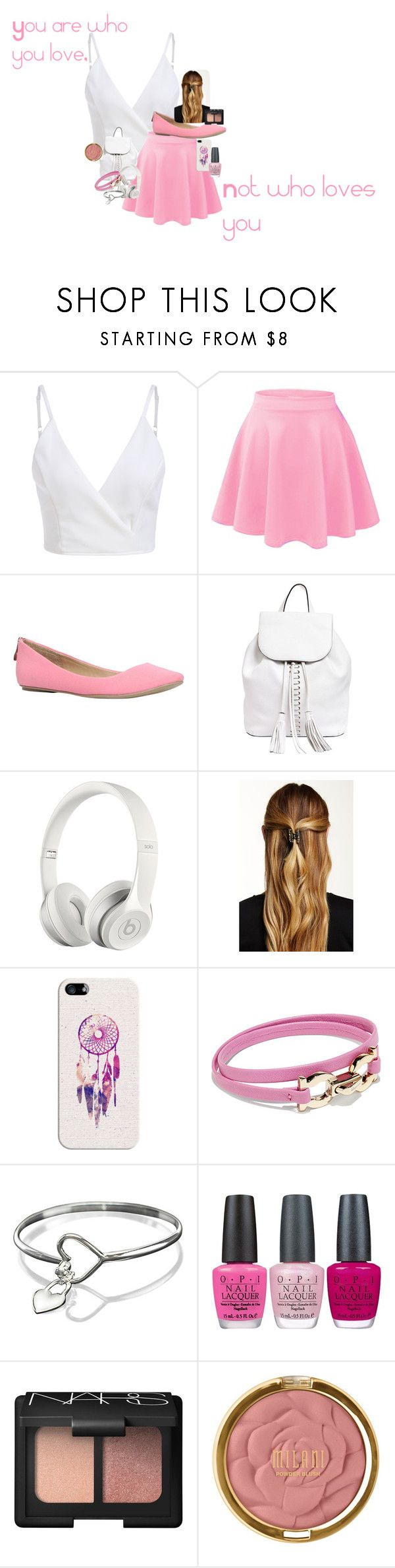 """Untitled #224"" by ava-adams123 ❤ liked on Polyvore featuring Call it SPRING, Rebecca Minkoff, Beats by Dr. Dre, Natasha Accessories, Casetify, Salvatore Ferragamo, OPI, NARS Cosmetics and Milani"