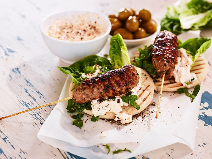 Lamb Kebabs with White Cheese Dip and Pita