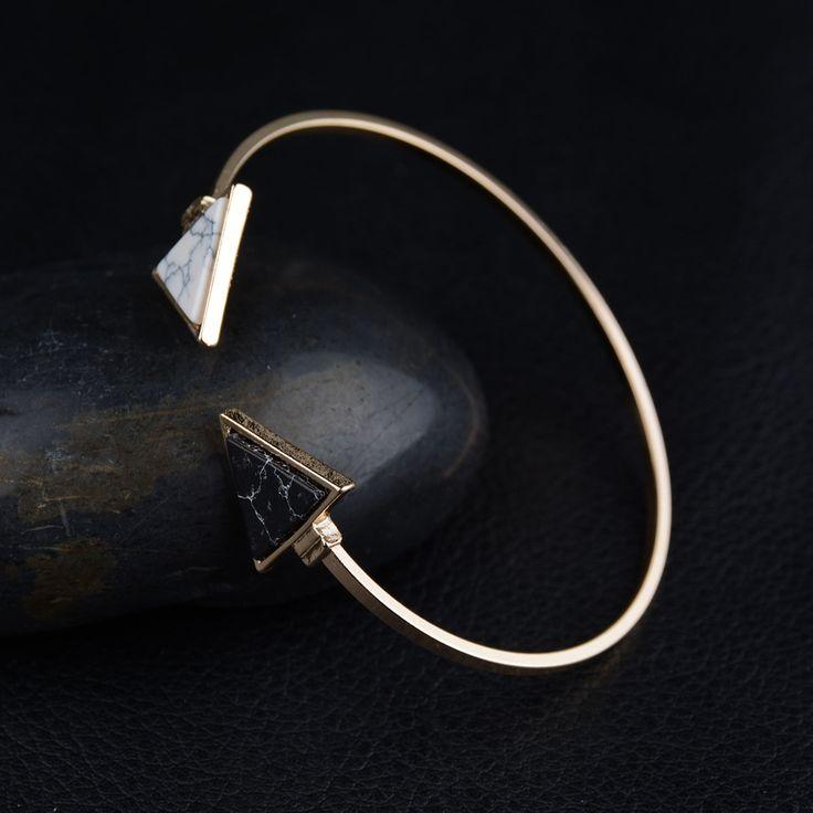 Bracelet jonc Pyramide blanc et noir