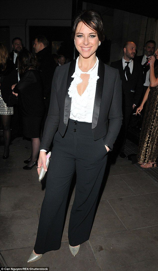Hot mama! Inbetweeners actress Belinda Stewart-Wilson looked stylish in a tuxedo...