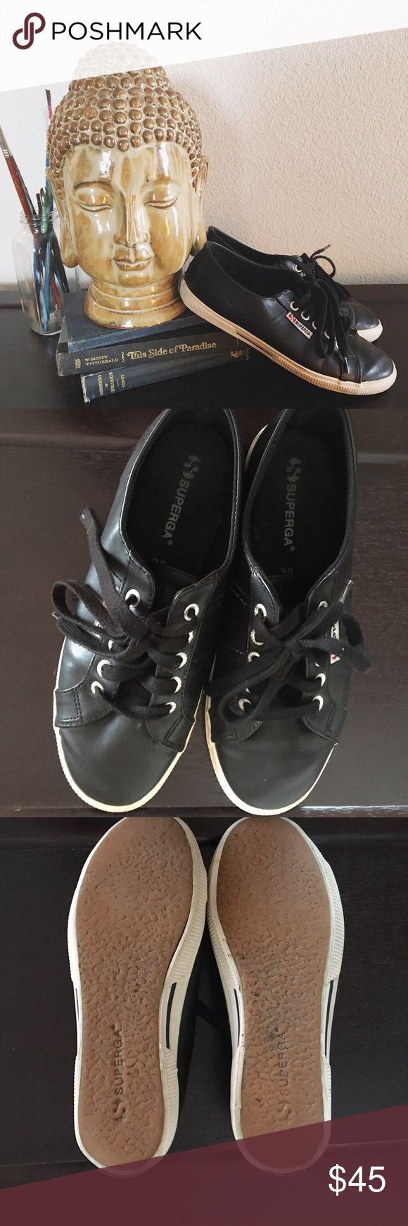 Superga low black faux leather Super cool; Superga low black faux leather, size 71/2, perfect all year around! Great condition, only worn a handful of times✨ Superga Shoes Sneakers