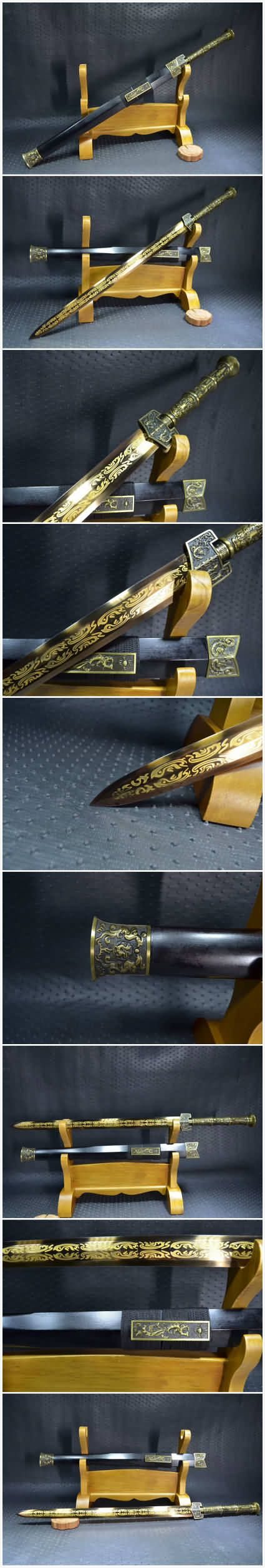 "Material:High manganese steel,eight surface,Surface etched pattern; Sword Type:Hand Made Sword;Package weight:2KG; Overall Length:30""/78CM;Blade Length:20""/53CM; Scabbard:Black wood;Handle:Alloy;Knife fitted:Alloy,silver surface treatment; Condition:Brand New;Origin:Longquan Zhejiang China;Accessories:Cotton sword bag.No wooden frame."