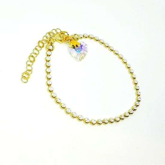 HANDMADE BRACELET HEART SWAROVSKI GOLD with Luxurious Goldplated Silver Chain with diamond cut laser and Heart of Swarovski Crystal 10mm