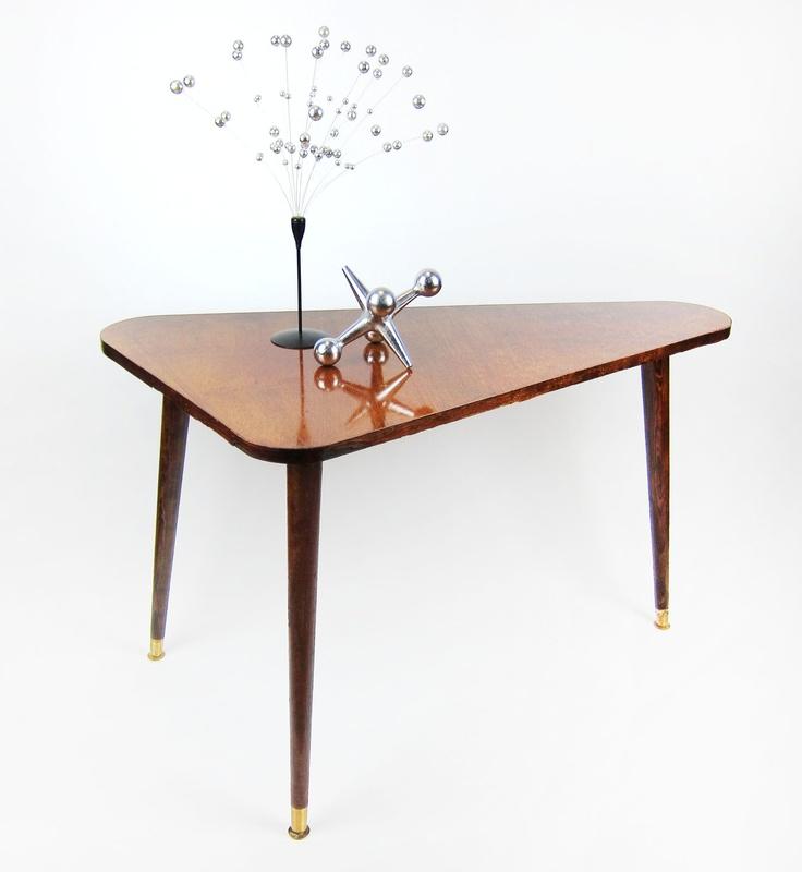 Triangle Side Table   Mid Century Modern Triangular Coffee Table    Boomerang. Via Etsy.
