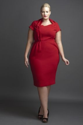 Lady Red  Asymmetrical Sheath Dress, Pleated front with angled neckline, Cap Sleeve (lined)(14-24)