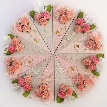 """Торт """"Розовый"""" из бумаги с пожеланиями - розовый,кремовый,серый,серебристый"""